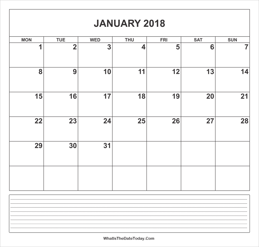Calendar January 2018 with Notes | Whatisthedatetoday.Com