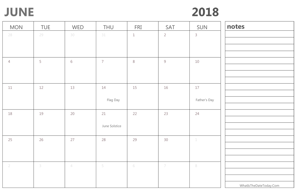 Editable June 2018 Calendar with Holidays and Notes ...