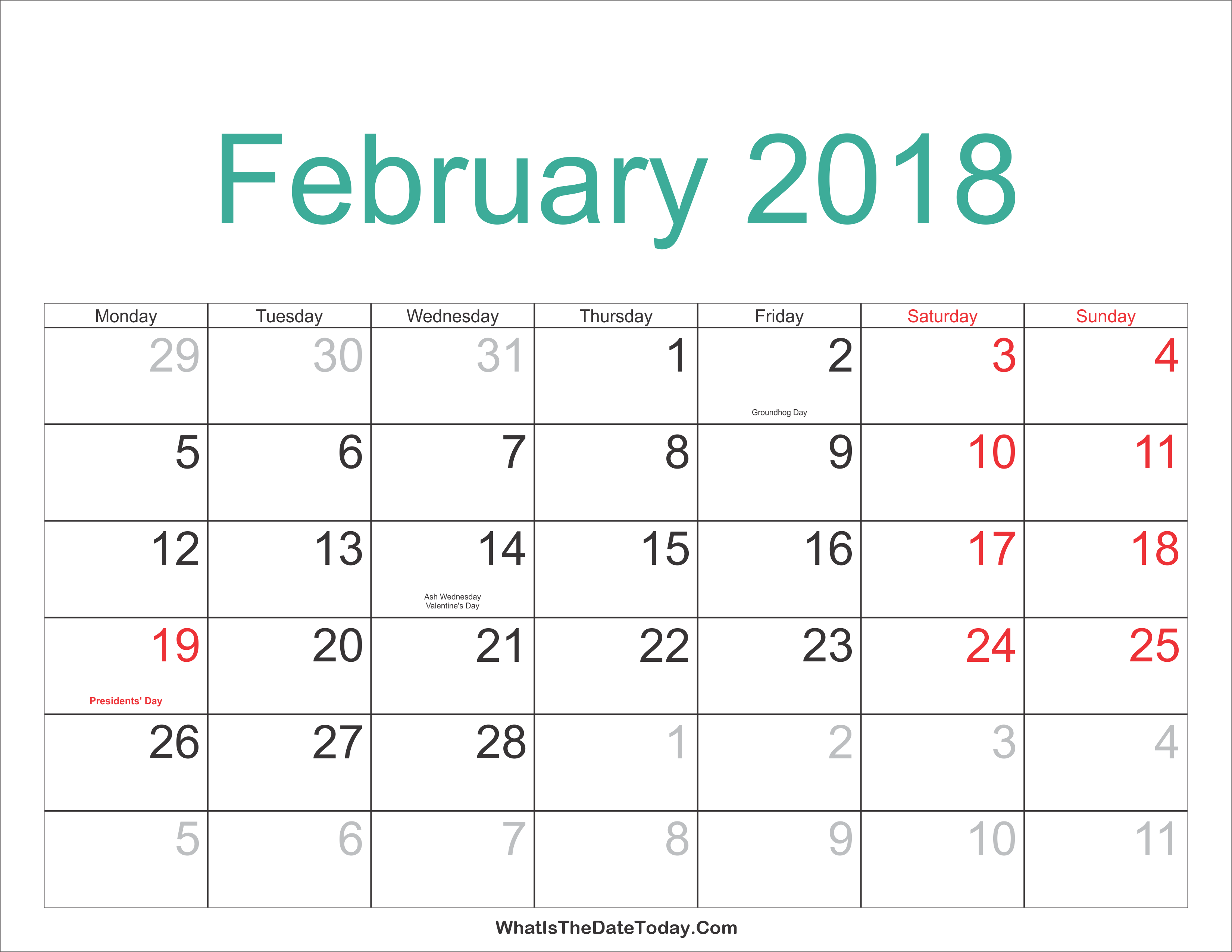 February 2018 Calendar Printable with Holidays ...