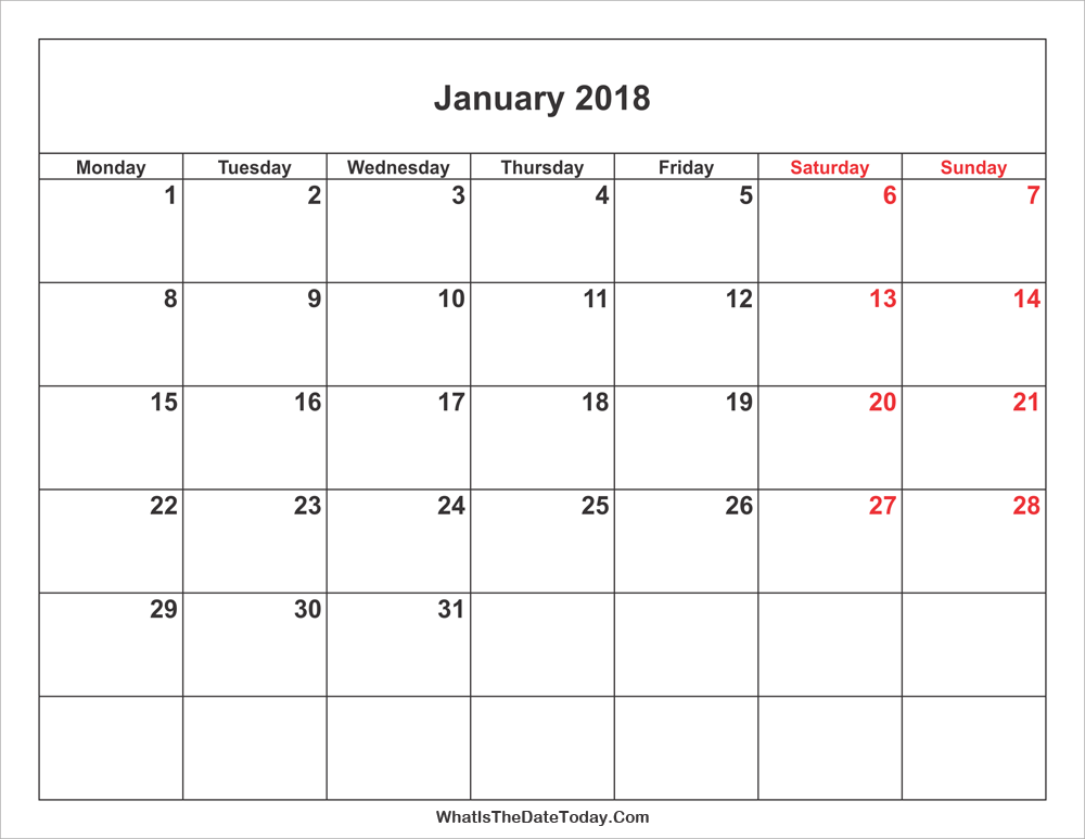 January 2018 Calendar with Weekend Highlight | Whatisthedatetoday.Com