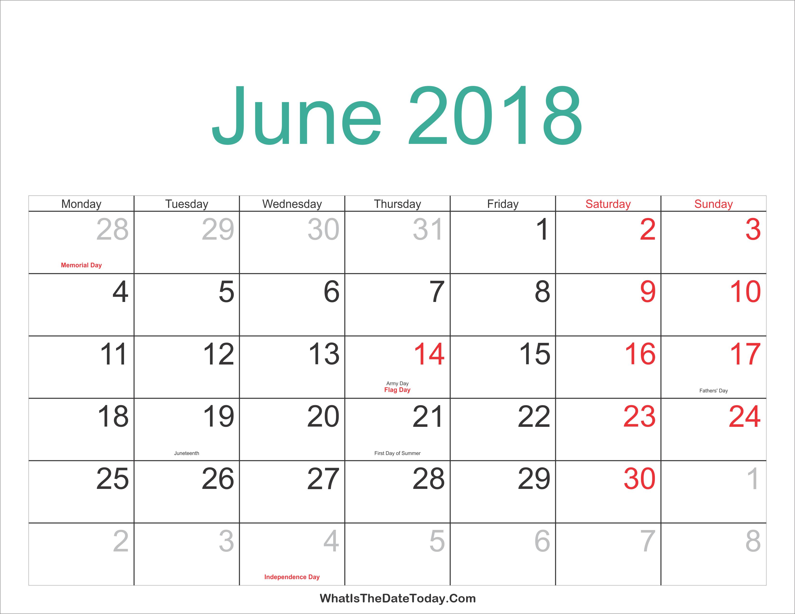 June 2018 Calendar Printable with Holidays | Whatisthedatetoday.Com
