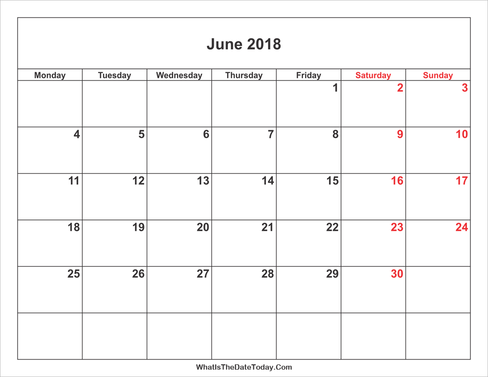 June 2018 Calendar with Weekend Highlight | Whatisthedatetoday.Com