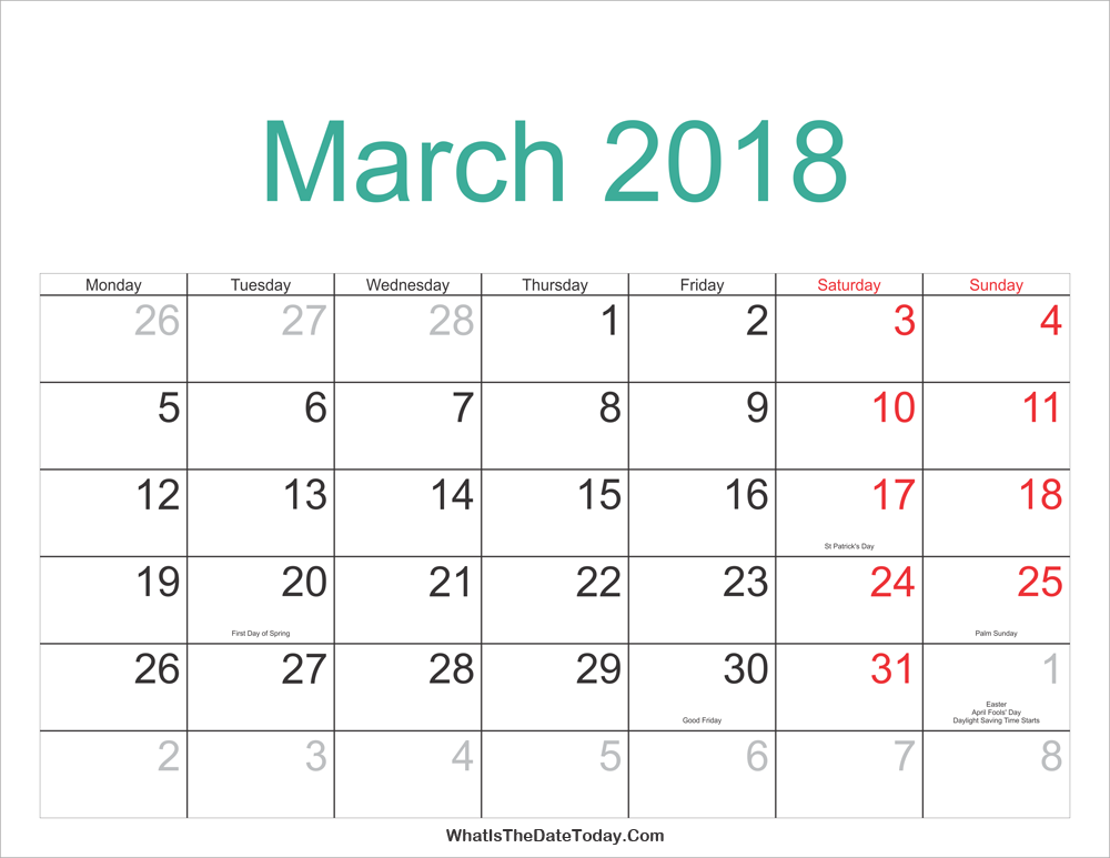 March 2018 Calendar Printable with Holidays | Whatisthedatetoday.Com