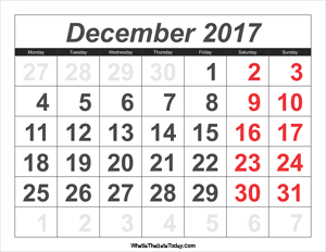 2017 calendar december with large numbers