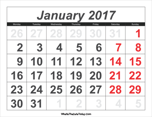 2017 calendar january with large numbers
