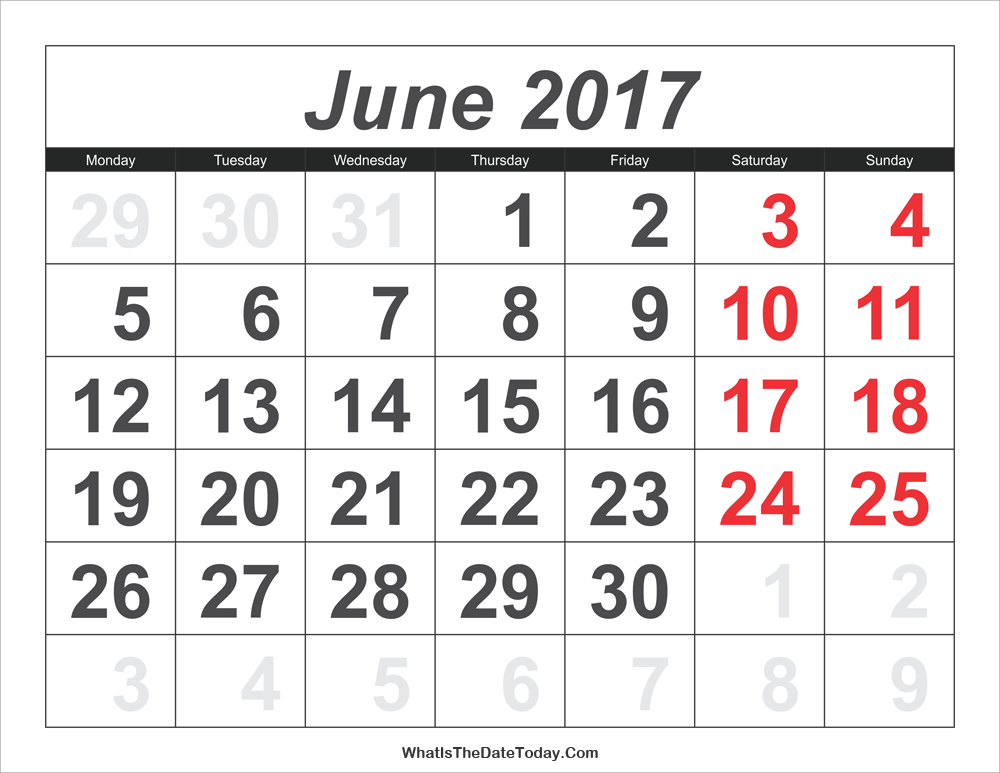 2017 calendar june with large numbers