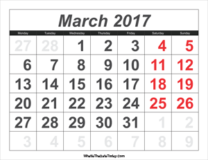 2017 calendar march with large numbers