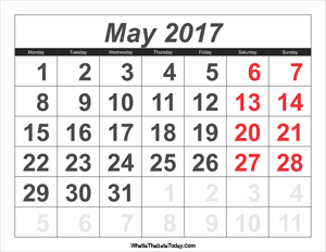 2017 calendar may with large numbers