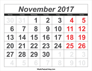 2017 calendar november with large numbers