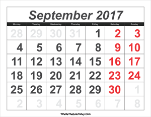 2017 calendar september with large numbers