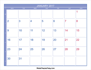 2017 january calendar with week numbers