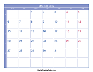 2017 march calendar with week numbers