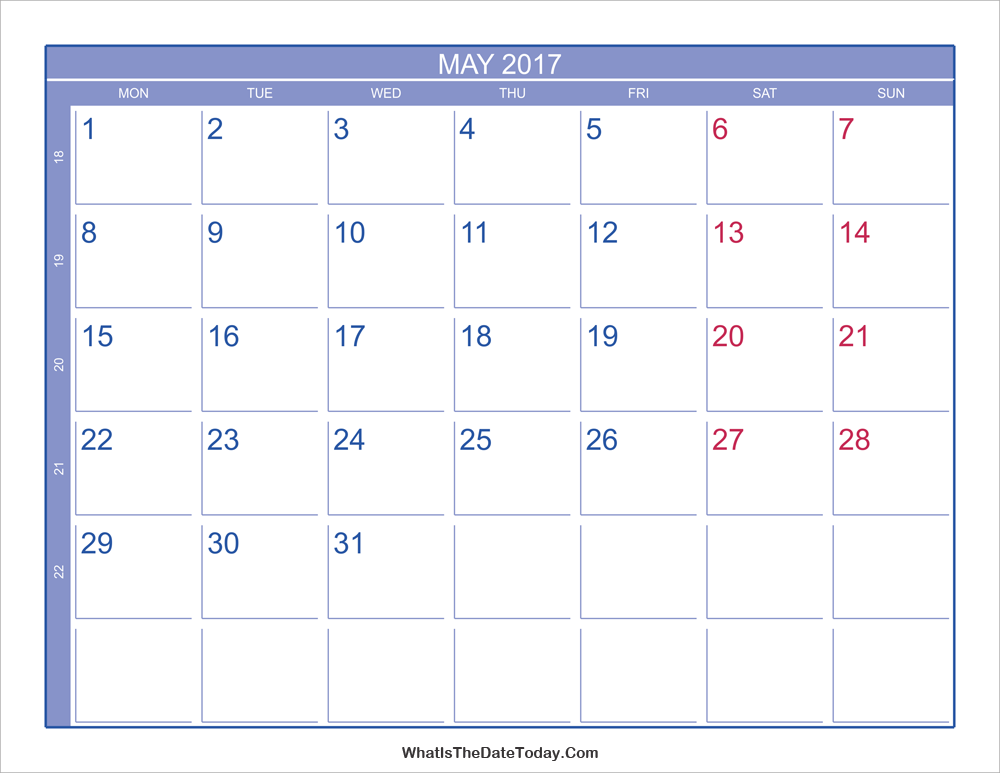 May Calendar Numbers : May calendar with week numbers whatisthedatetoday