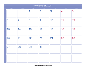 2017 november calendar with week numbers