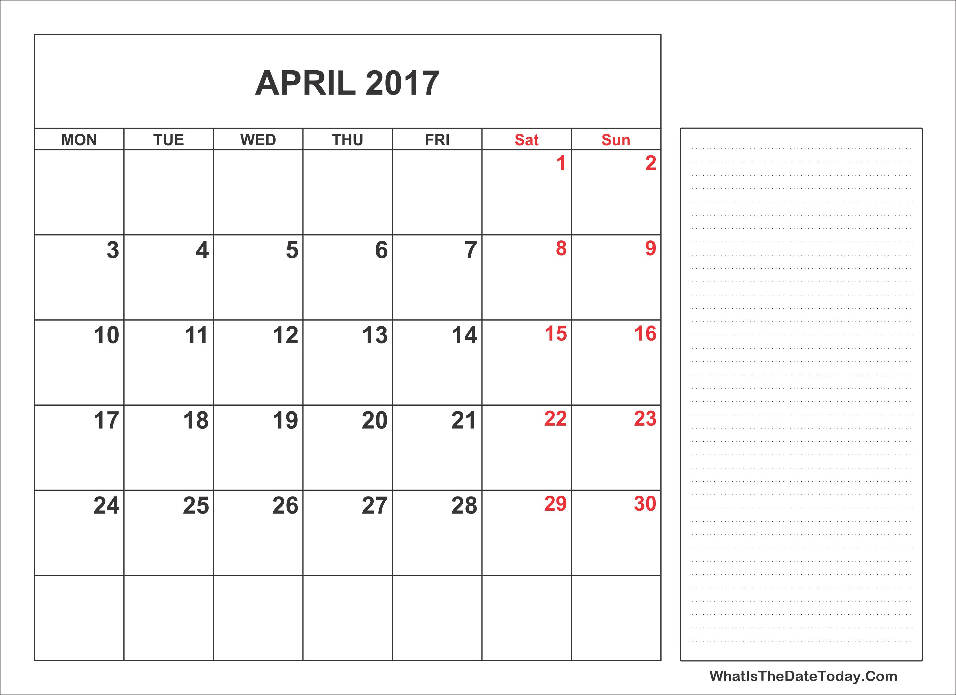 April Calendar Notes : Printable april calendar with notes