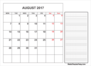 2017 printable august calendar with notes