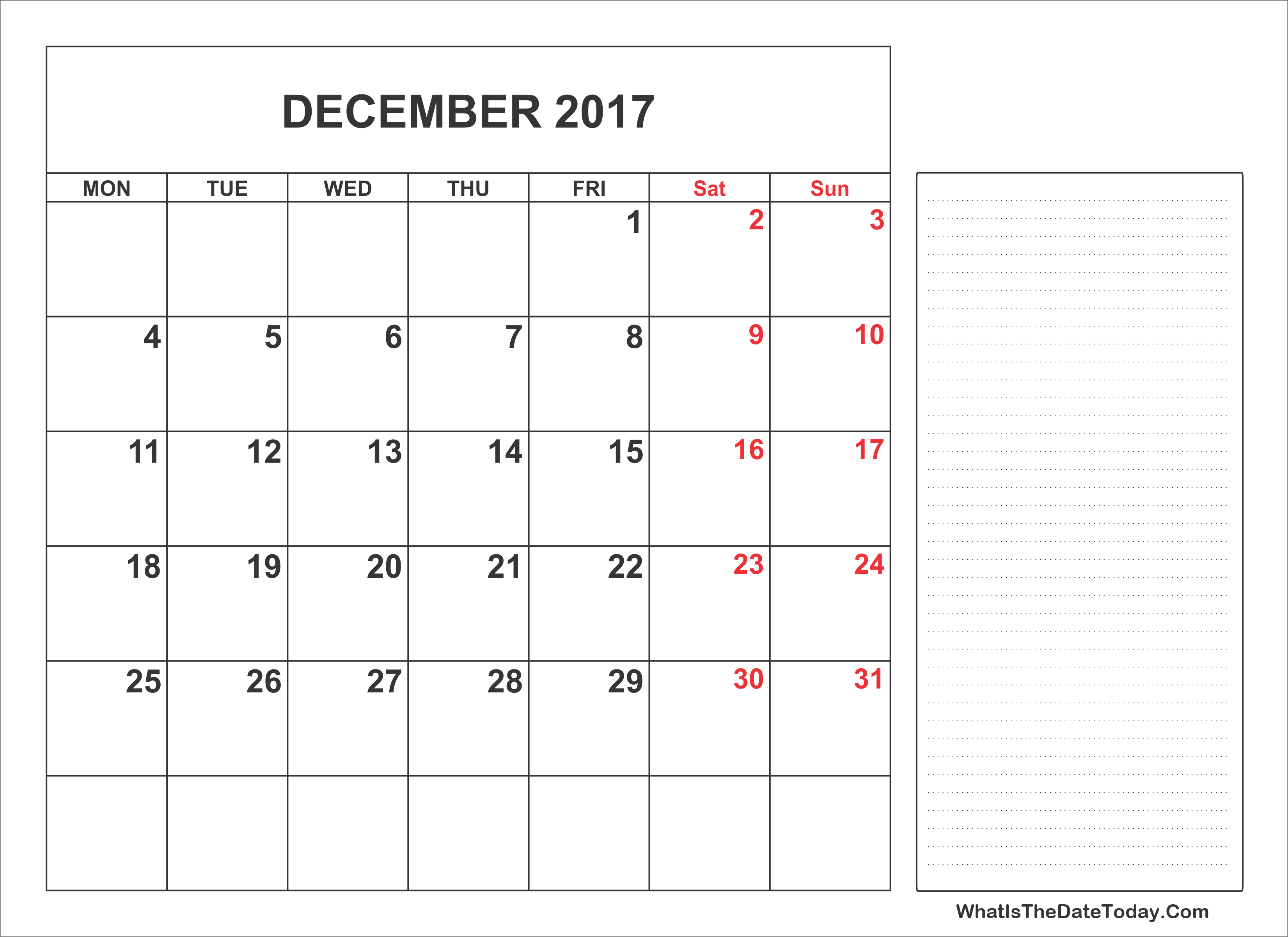 December 2017 Calendar Templates Whatisthedatetoday Com