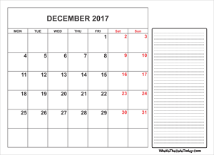 2017 printable december calendar with notes