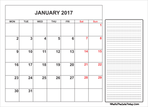 2017 printable january calendar with notes