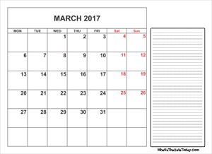 2017 printable march calendar with notes
