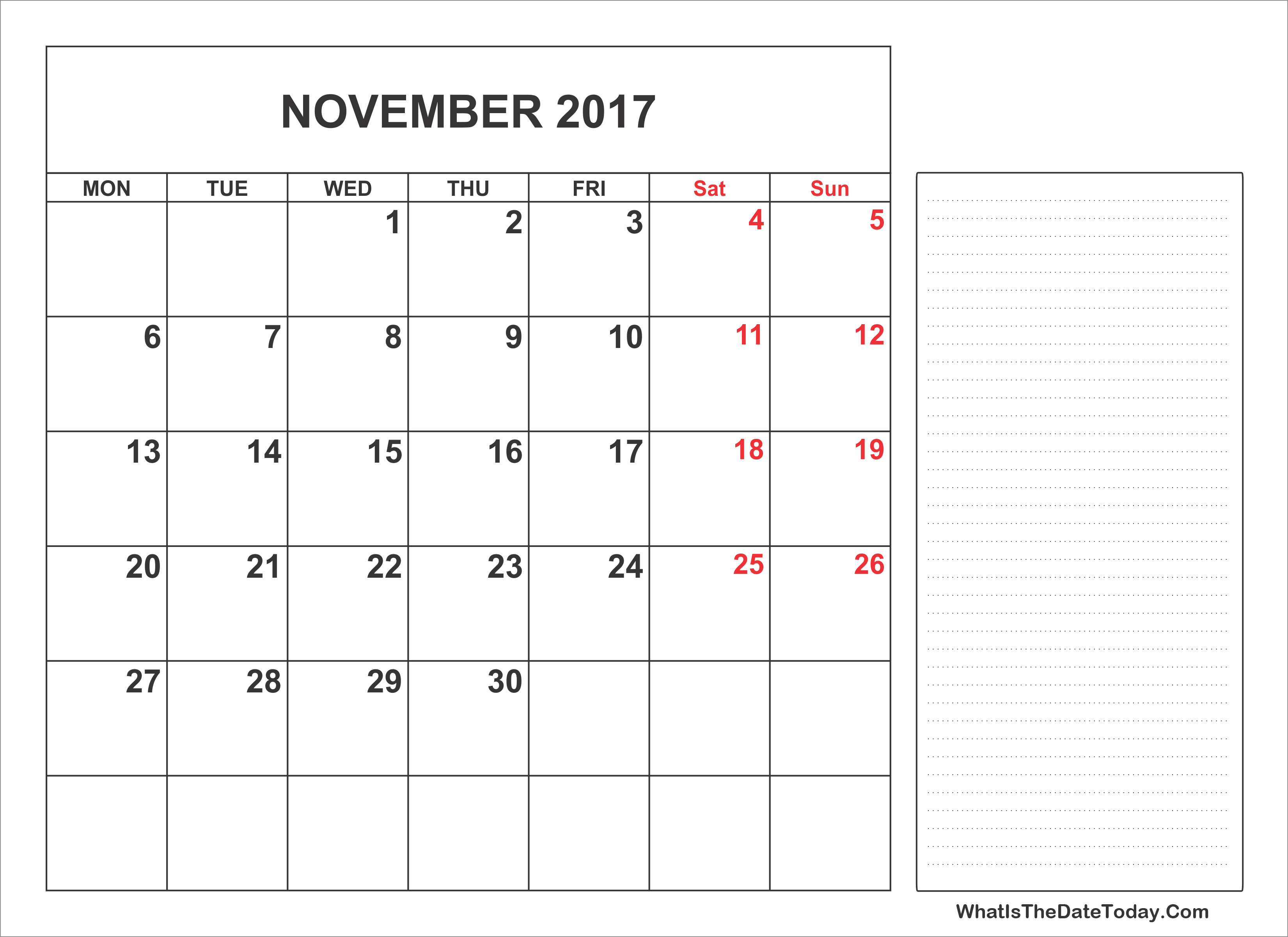 2017 printable november calendar with notes whatisthedatetoday com