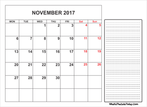 2017 printable november calendar with notes
