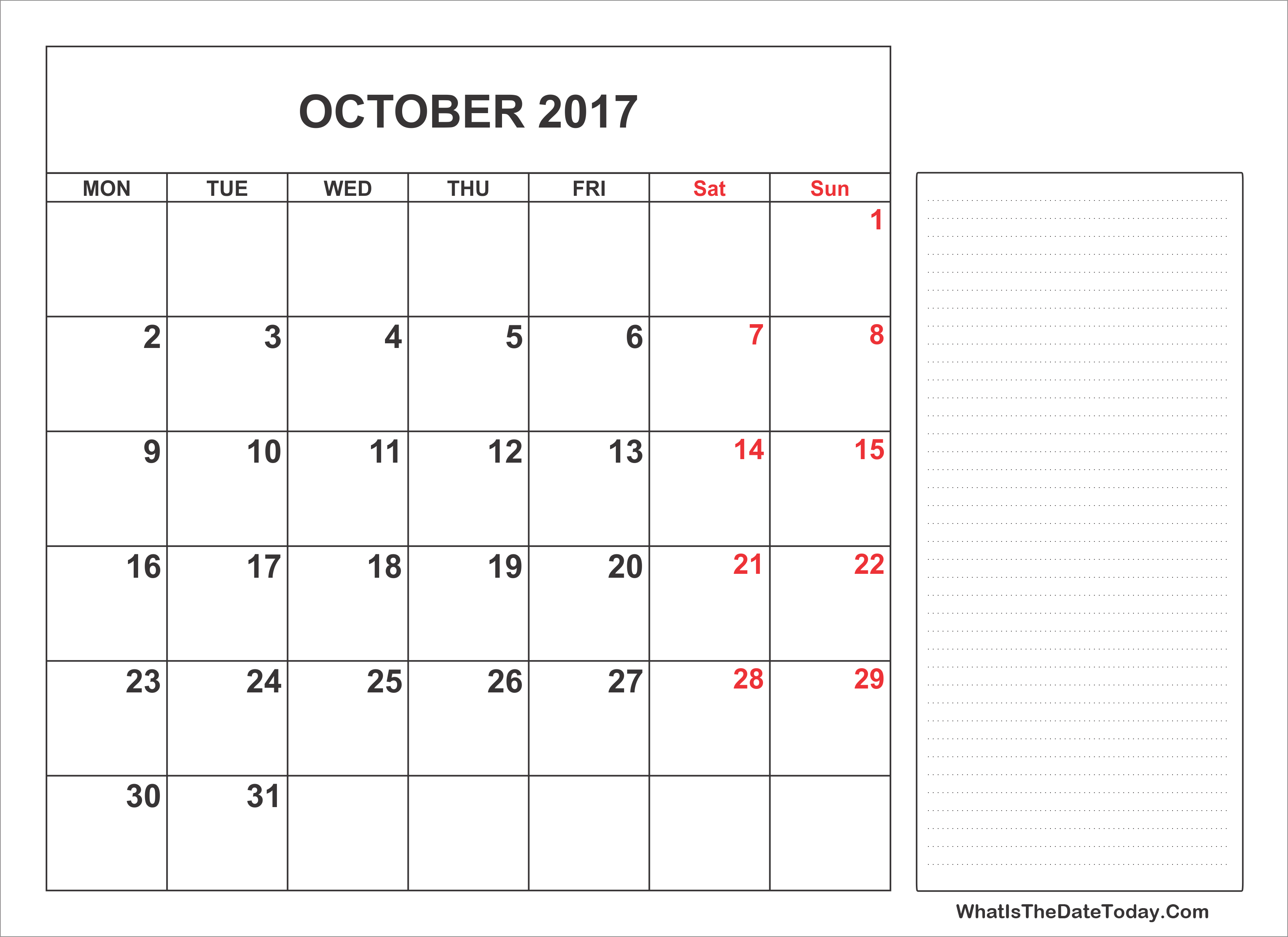 printable calendar with notes