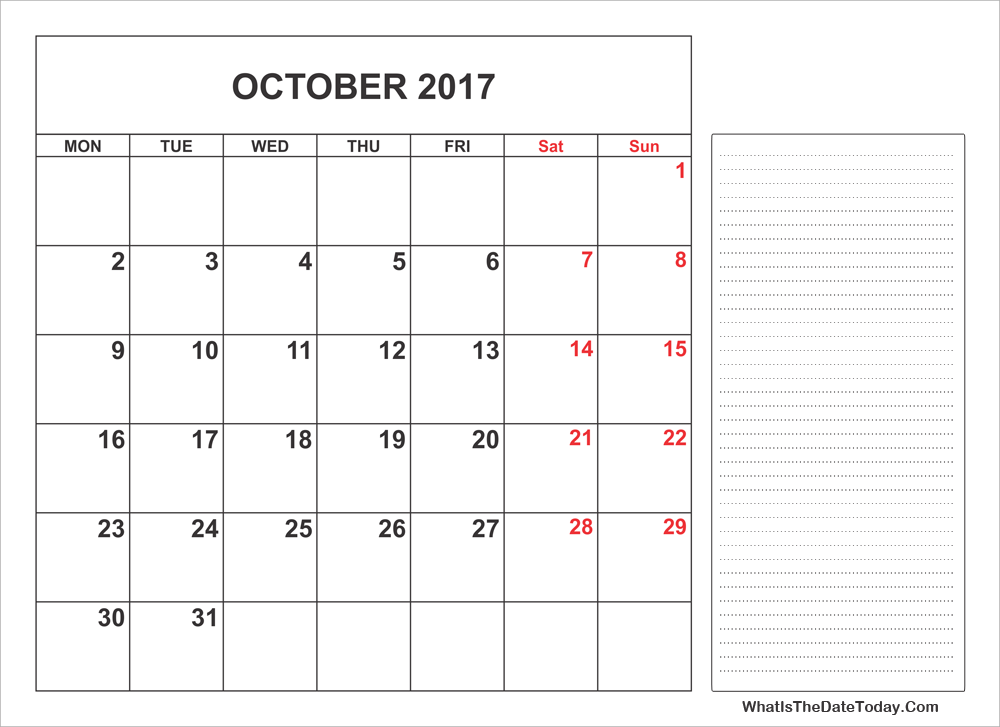 2017 printable october calendar with notes