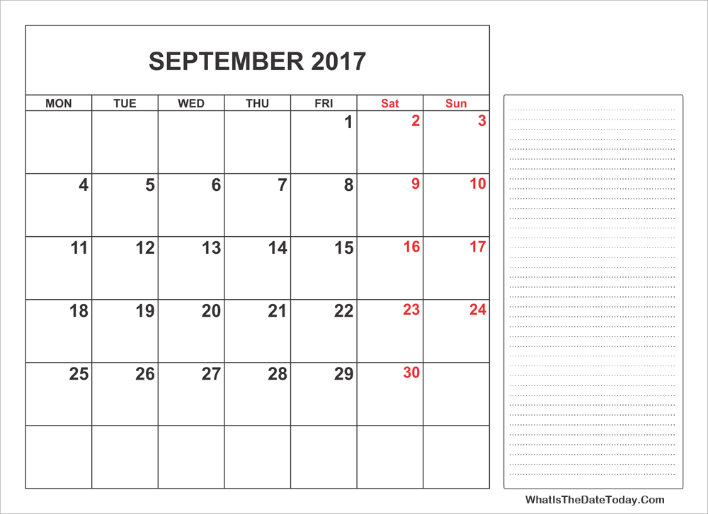 2017 printable september calendar with notes