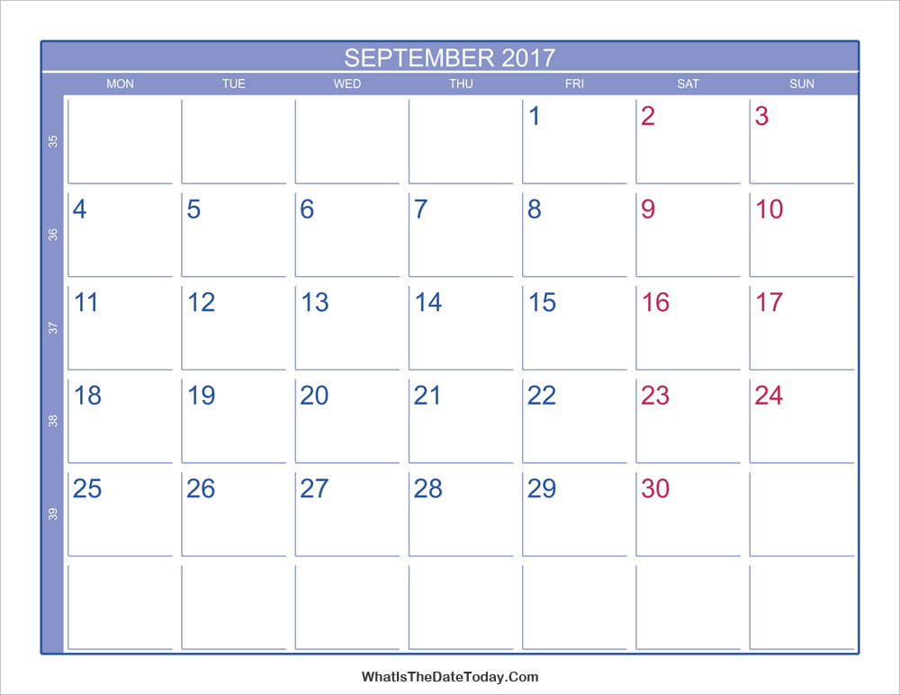 2017 september calendar with week numbers