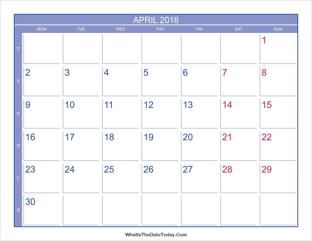 April Calendar Numbers : April calendar with week numbers whatisthedatetoday