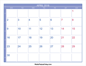 2018 april calendar with week numbers
