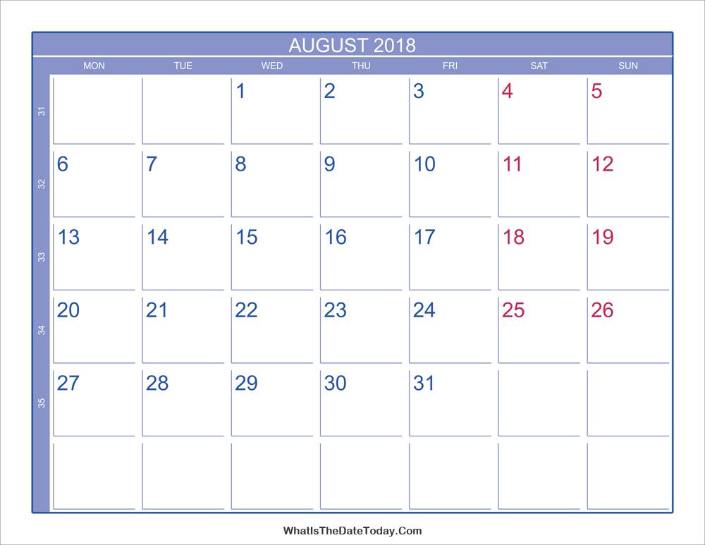 Calendar Showing May : August calendar with week numbers
