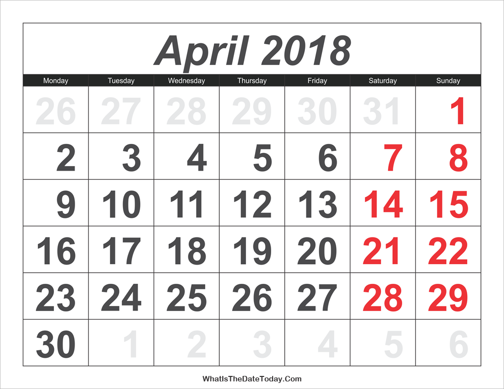 Calendar April 2018.2018 Calendar April With Large Numbers Whatisthedatetoday Com