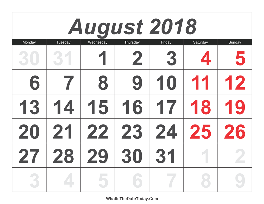 2018 calendar august with large numbers
