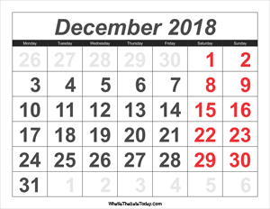 2018 calendar december with large numbers