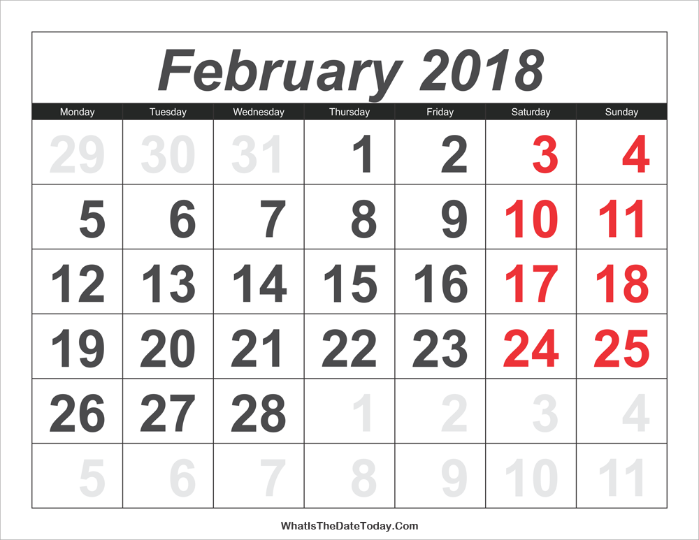 2018 calendar february with large numbers