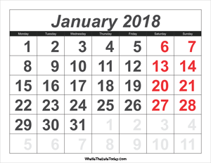 2018 calendar january with large numbers
