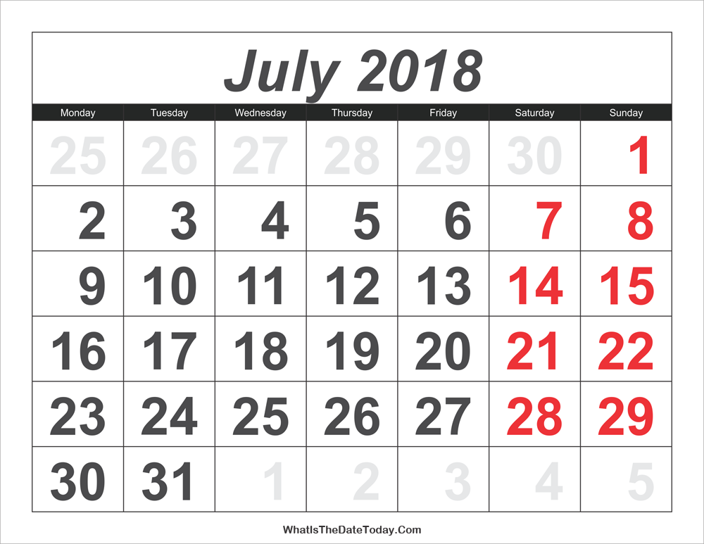 2018 calendar july with large numbers