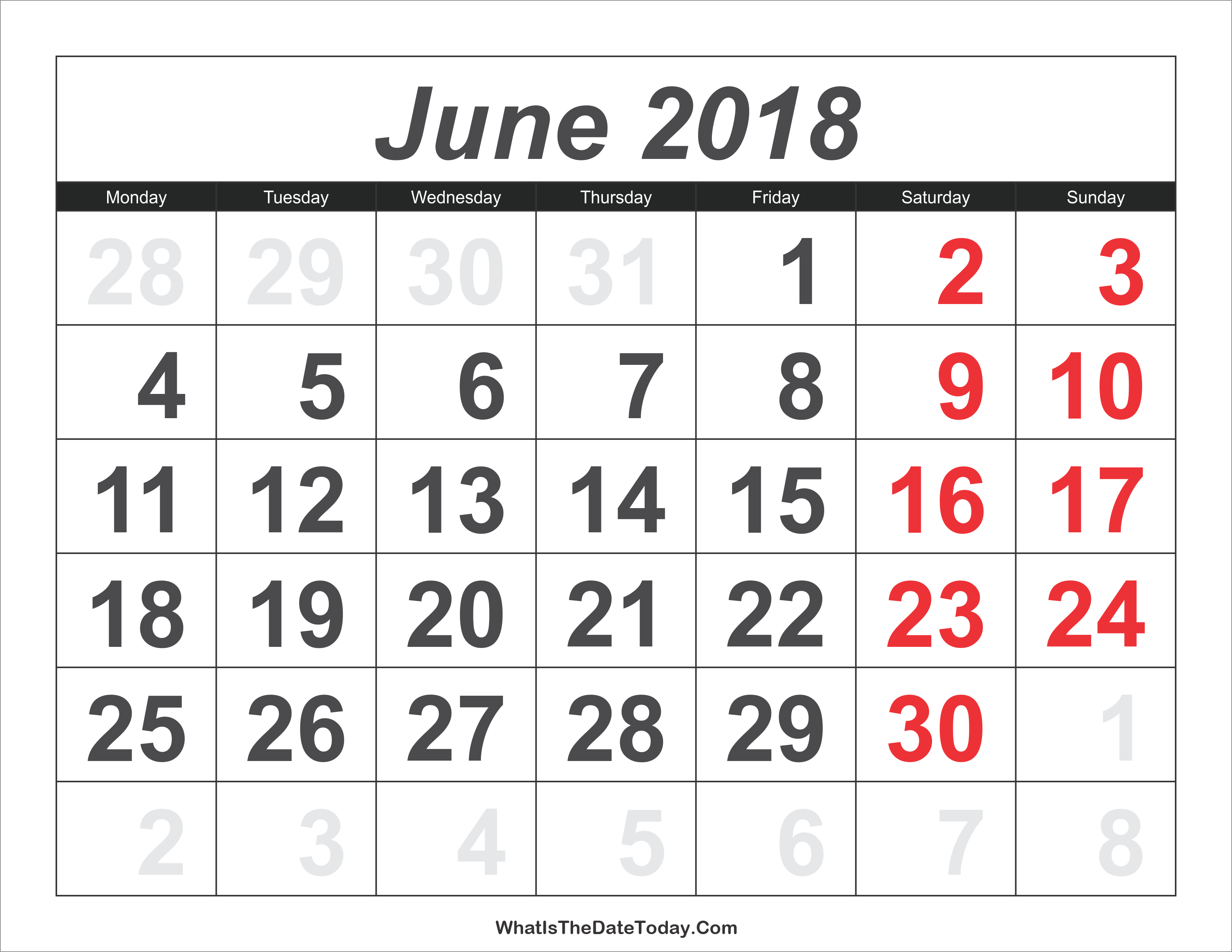 June 2018 Calendar Templates Whatisthedatetoday