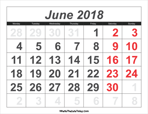 2018 calendar june with large numbers
