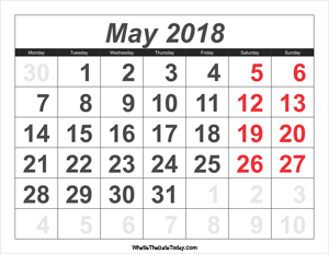 2018 calendar may with large numbers