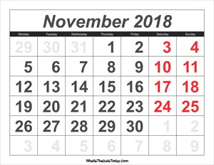 2018 calendar november with large numbers