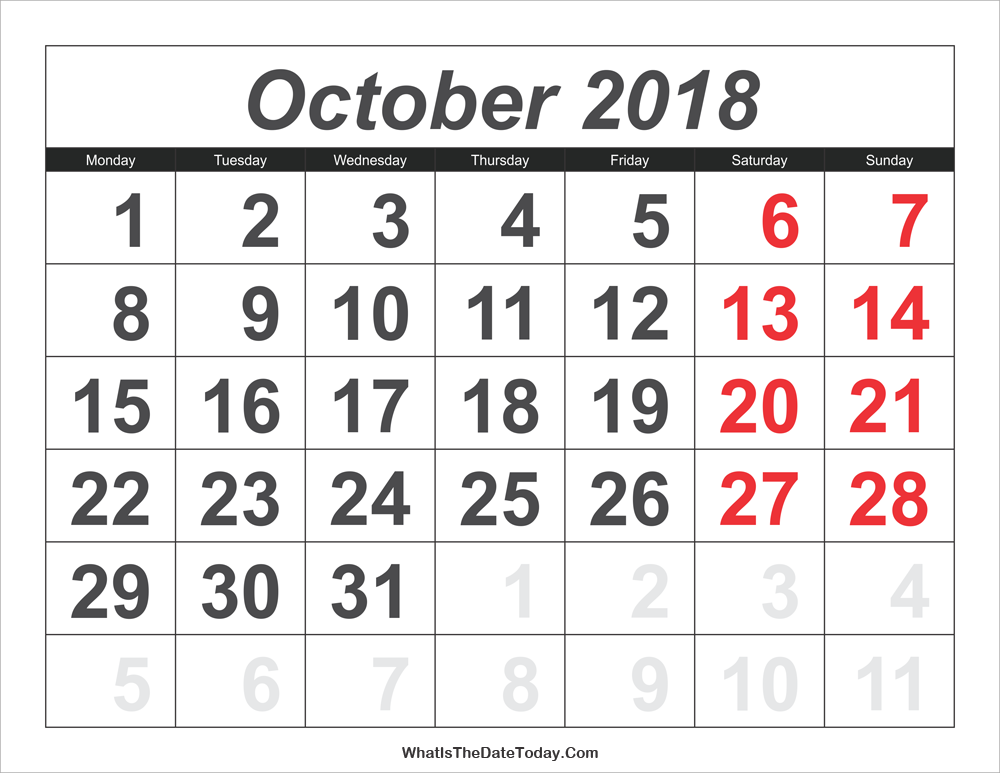 2018 calendar october with large numbers