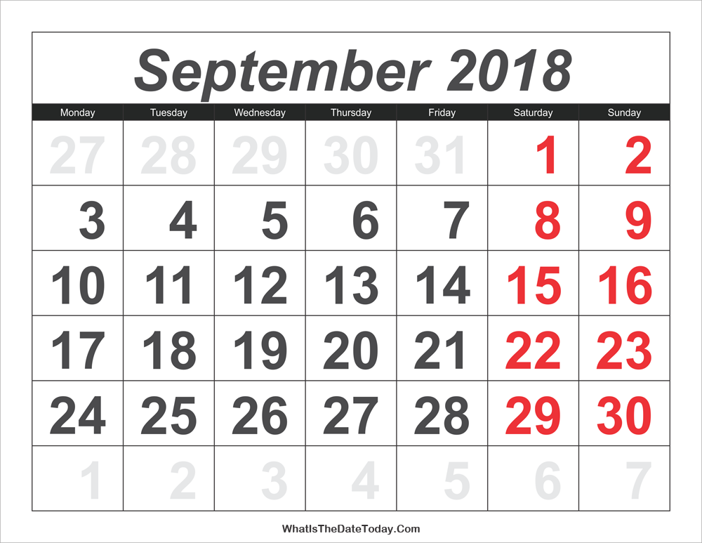 graphic regarding Printable Large Numbers named 2018 Calendar September with Weighty Quantities