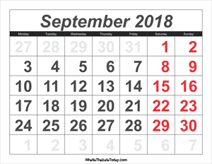 2018 calendar september with large numbers