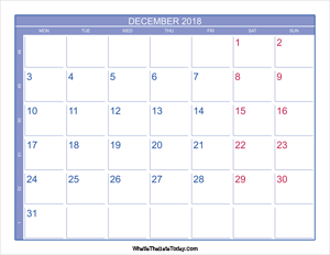 2018 december calendar with week numbers
