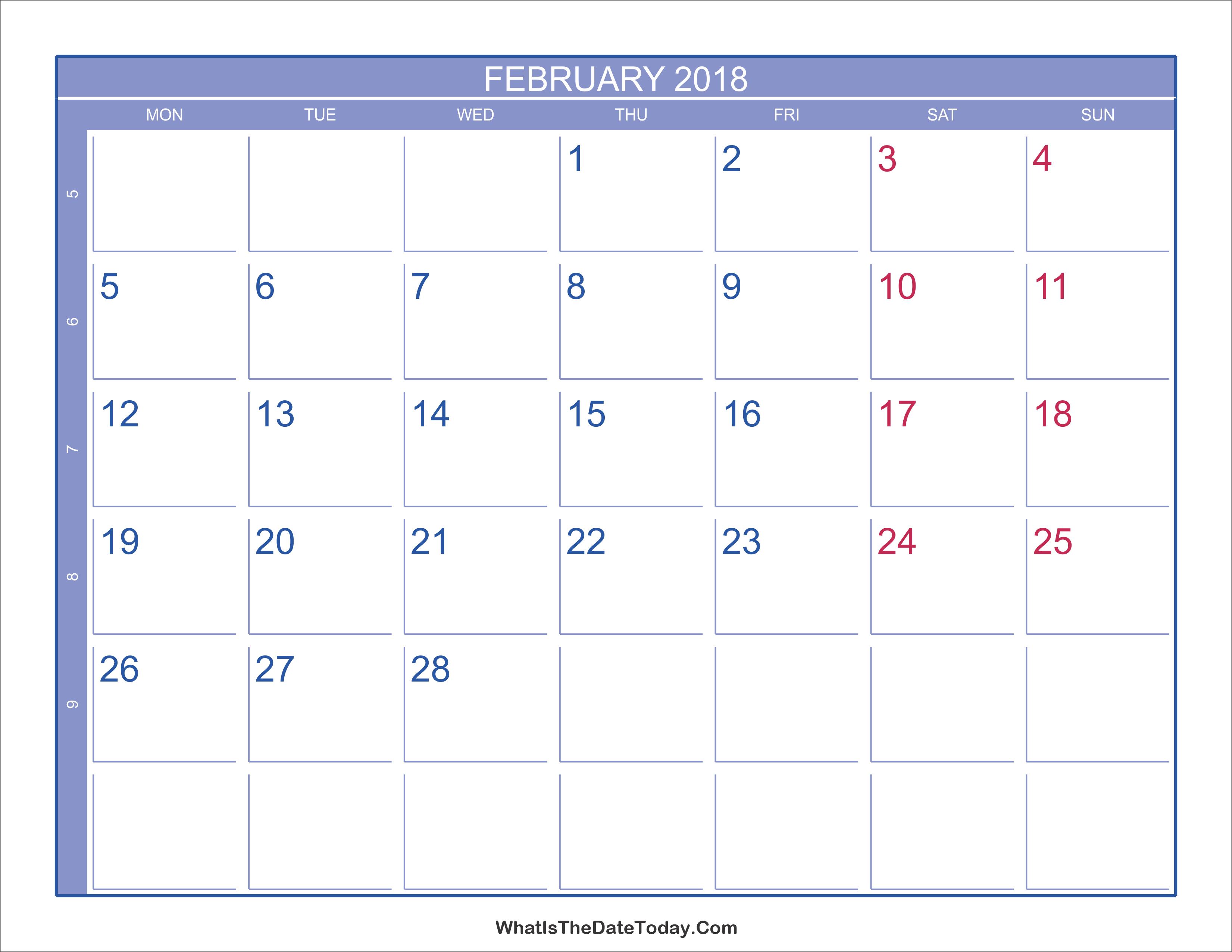 week number calendar 2018