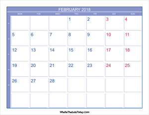 2018 february calendar with week numbers