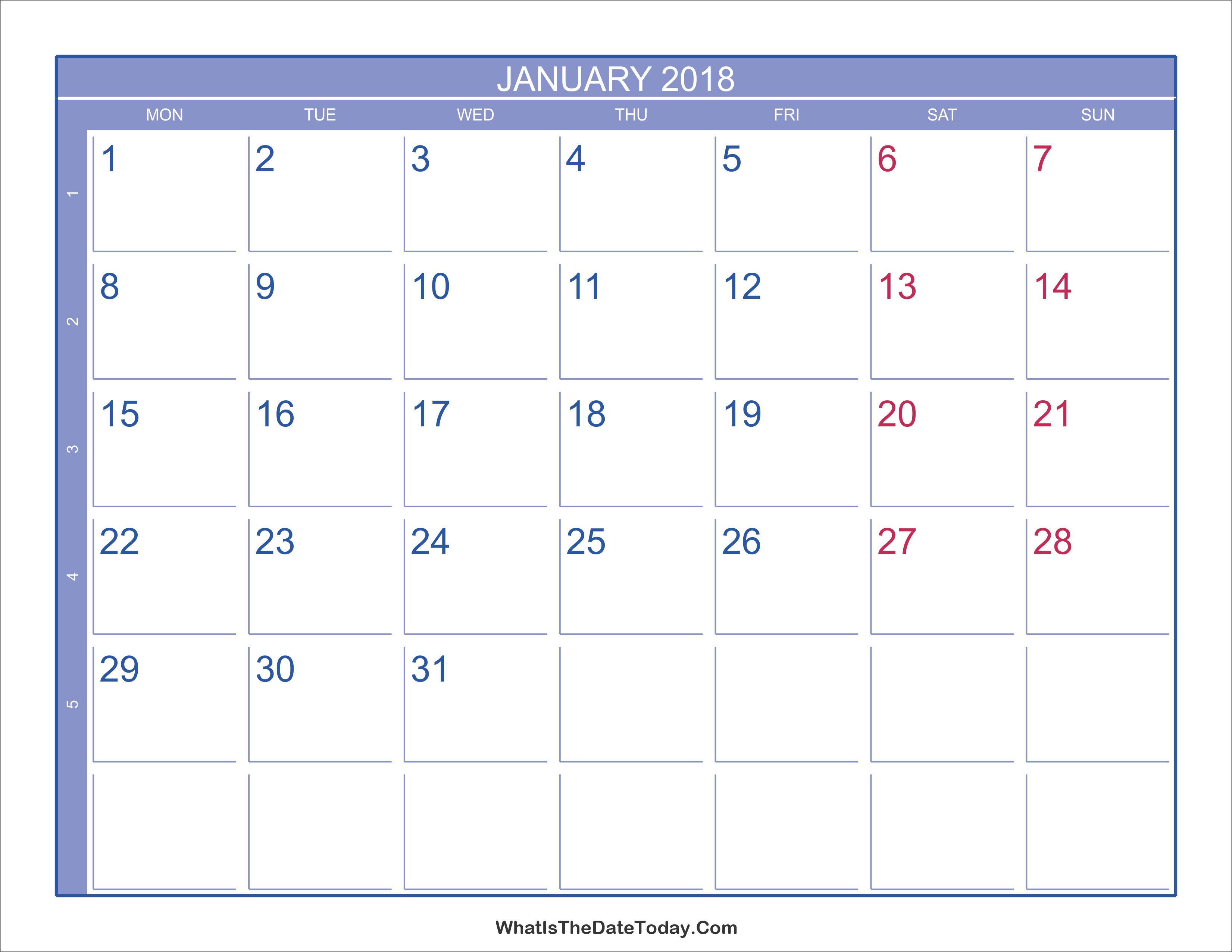 calendar 2018 weekly